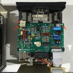 Figure 3. Disk ][ Analog Card. Two more screws and a cable will give ready access to the drive mechanism. The 74LS125 and MC3470 chips are also highlighted.