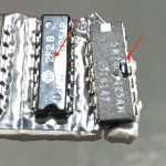 Figure 8. The 74LS125s I blew up – one has a slight bulge, the other a small melt mark.